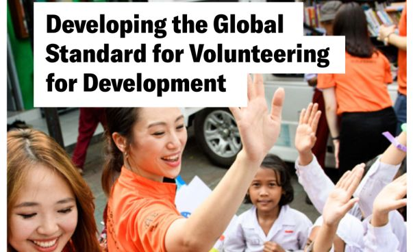 The photo shows the cover of the brochure on global standards in voluntary service. Photo: IVCO